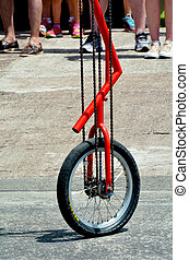 Unicycle street performance - Unicycle during a street...