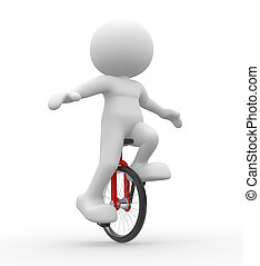 Unicycling - 3d people - men, person with unicycle.