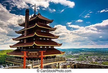 unidad, lectura, pennsylvania., contorno, pagoda