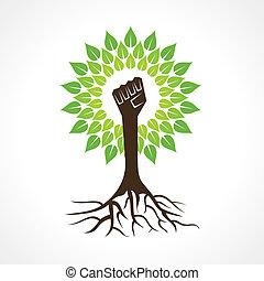 unidade, árvore, fazer, mão