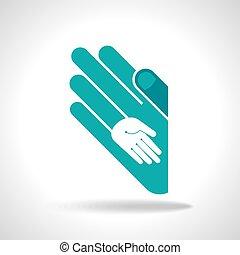 unidade, conceito, mão humana