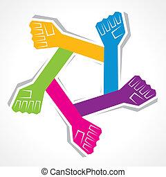 unidade, criativo, fundo, mão