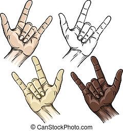 unidade, gesto, chifres