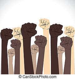 unidade, mão, cada, mostrar