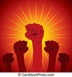 unidade, mão, poder, mostrar