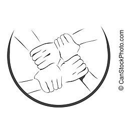 unidade, símbolo, mão