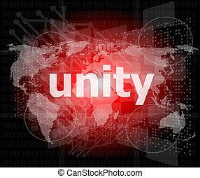 unidade, texto, ligado, digital, tela toque, -, conceito...