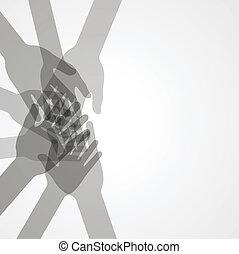 unidade, vetorial, mãos