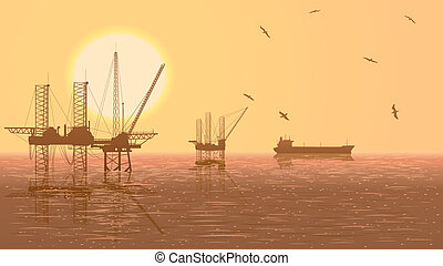 unidades, industry., óleo, ilustração