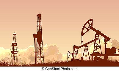 unidades, industry., óleo, pôr do sol