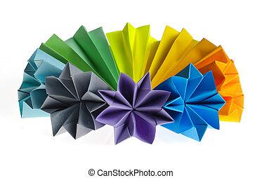 unidades, origami, colorido