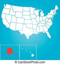 unidas, -, alasca, ilustração, estados, estado, américa