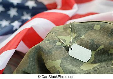unidas, camuflagem, tag, estados, tecido, bandeira, cão, prateado, uniforme militar, contas