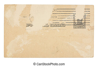 unidas, cartão postal, vindima, rasgado, centavo, estados, uma vez