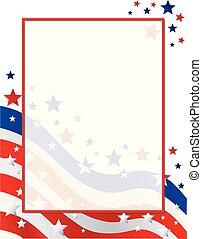unidas, cartaz, estados, bandeira, américa, borda