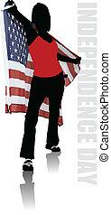 unidas, cartaz, estados, lugar, texto, américa, dia, independência
