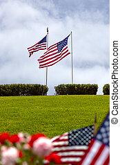 unidas, cemitério nacional, estados, bandeiras americanas