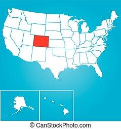 unidas, colorado, -, ilustração, estados, estado, américa