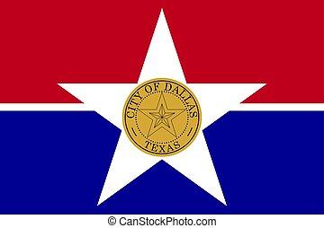 unidas, dallas, bandeira, ilustração, estados, america., vetorial, texas