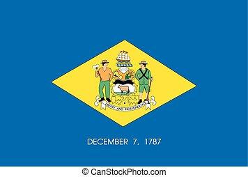 unidas, delaware, -, estado, estados, bandeira, américa