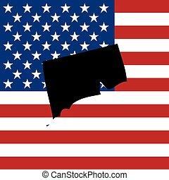 unidas, -, estado, ilustração, estados, connecticut, américa