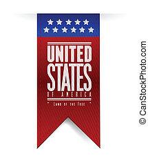 unidas, eua, states., ilustração, sinalize bandeira