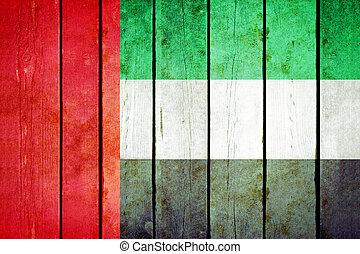 unidas, grunge, madeira, flag., árabe, emirates
