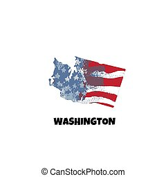 unidas, illustration., eua, flag., estado, estados, america., vetorial, washington.