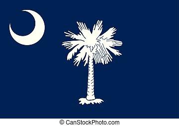 unidas, illustration., flag., estados, america., vetorial, carolina sul