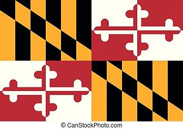 unidas, illustration., flag., estados, america., vetorial, maryland
