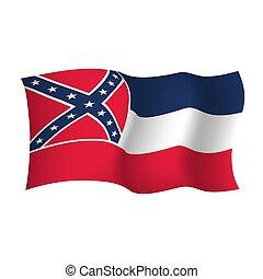 unidas, illustration., flag., estados, vetorial, américa, mississipi