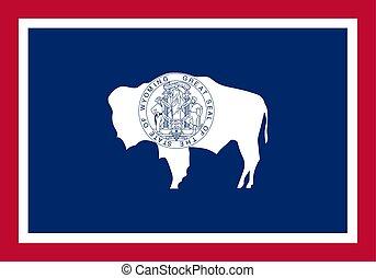 unidas, illustration., flag., wyoming, estados, america., vetorial