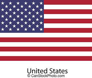 unidas, illustration., país, bandeira, estados, america., vetorial