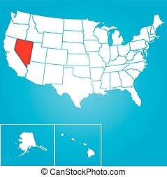 unidas, -, ilustração, estados, américa, estado, nevada