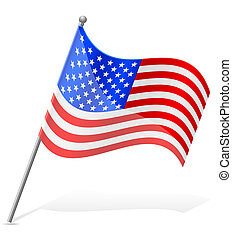 unidas, ilustração, estados, bandeira, vetorial, américa