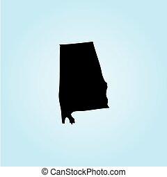 unidas, -, ilustração, estados, estado, alabama, américa