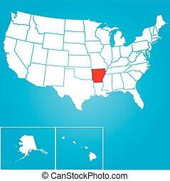 unidas, -, ilustração, estados, estado, arkansas, américa