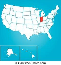unidas, -, ilustração, estados, estado, indiana, américa