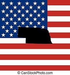 unidas, -, ilustração, estados, estado, nebraska, américa