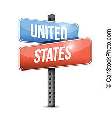 unidas, ilustração, sinal, estados, desenho, estrada