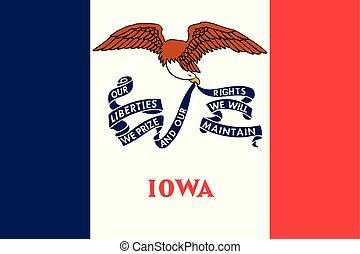unidas, iowa, illustration., flag., estados, america., vetorial