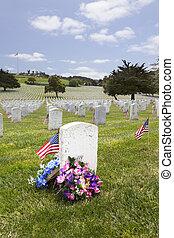 unidas, lápides, cemitério nacional, estados americanos, bandeira