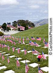 unidas, lápides, cemitério nacional, estados, bandeiras americanas