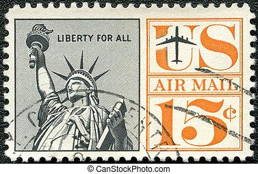 unidas, -, liberdade, estados, estátua, 1959:, américa, ...
