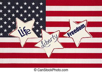 unidas, liberdade, liberdade, estados, vida, mensagem, américa