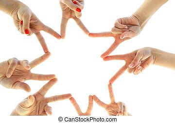 unidas, mãos, isolado