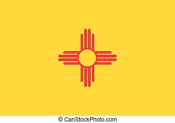 unidas, méxico, ilustração, estado, estados, bandeira, vetorial, novo, américa