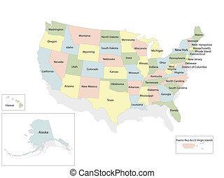 unidas, mapa, américa, estados