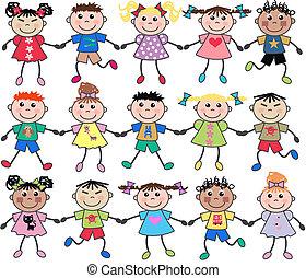 unidas, misturado, crianças