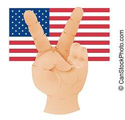 unidas, mostrando, sinal paz, estados, bandeira, mão